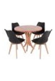 Conjunto Mesa De Jantar Tampo De Madeira 90Cm Com 4 Cadeiras Leda - Preto