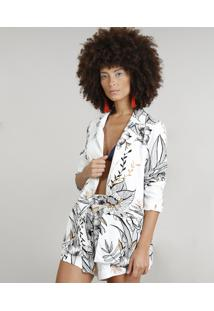 Blazer Feminino Dress To Estampado Floral Manga Longa Branco