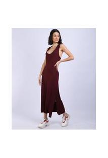 Vestido Feminino Básico Midi Decote Nadador Vinho