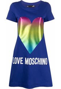Love Moschino Chemise Com Estampa De Coração - Azul