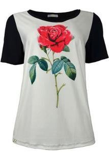 Camiseta Knt T-Shirt Rosa Feminina - Feminino-Branco+Preto