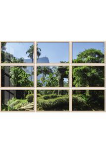 Quadro 120X180Cm Painel Jardim Botânico Rio De Janeiro Moldura Natural Com Vidro