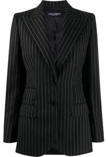 Dolce & Gabbana Blazer Abotoamento Simples Com Listras - Preto