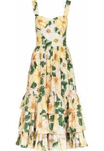 Dolce & Gabbana Vestido Midi Com Estampa Floral - Amarelo