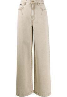 Dolce & Gabbana Calça Jeans Pantalona Cintura Alta - Neutro