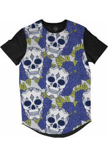 Camiseta Insane 10 Longline Caveiras Com Flores Sublimada Preta Azul