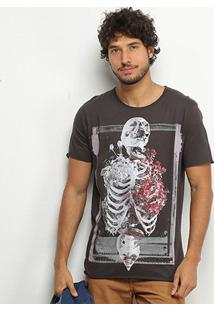 Camiseta Derek Ho Romantic Rib Skeleton Masculina - Masculino-Chumbo
