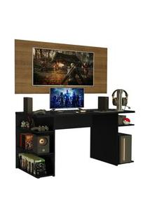 Mesa Gamer Madesa 9409 E Painel Para Tv Até 50 Polegadas - Preto/Rustic Preto