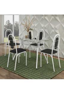 Conjunto De Mesa Aquila Com 4 Cadeiras Pintura Epoxi Branca