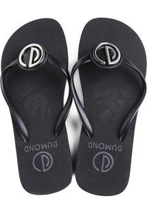c9dd50e23 ... Chinelo Dumond Dedo Logo Metal Feminino - Feminino-Preto