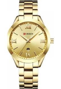 Relógio Curren Analógico Feminino - Feminino-Dourado