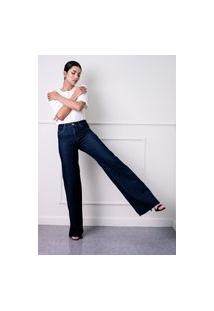 Calça Wide Leg Sisal Jeans Cós Alto Deep Blue