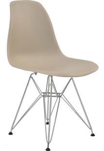 Cadeira Sem Braço Pp Base Cromada Eiffel -Rivatti - Nude