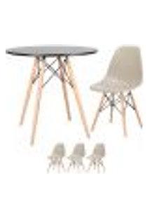 Conjunto De Mesa Eames 80 Cm Preto + 3 Cadeiras Eames Eiffel Dsw Nude