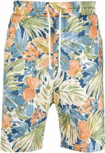 Drôle De Monsieur Bermuda Com Estampa Floral - Azul