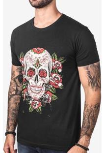 Camiseta Hermoso Compadre Calavera Masculina - Masculino-Preto