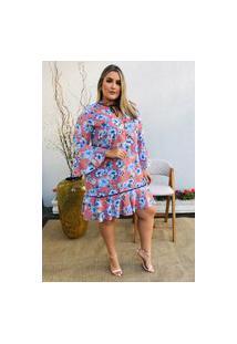 Vestido Feminino Mac-Lu Florido Com Leve Babado Na Barra Linha Premium Rose Antonella