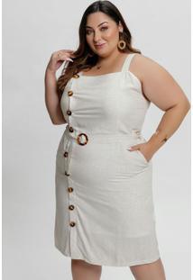 Vestido Midi Linho Plus Size Com Botões E Fivela
