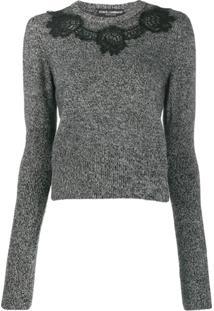 Dolce & Gabbana Suéter Com Detalhe De Renda - Preto