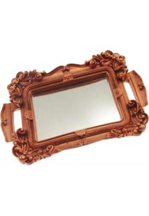 Bandeja Espelhada Mini Decorativa Cobre Brilho 2X22X14Cm