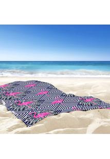 Toalha De Praia / Banho Flamingos Geométricos