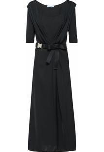 Prada Vestido Midi Com Cinto - Preto