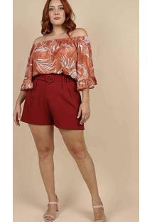 Blusa Estampada Almaria Plus Size Peri Vermelho