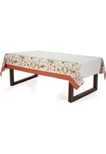 Toalha De Mesa Retangular Karsten Floralice Bege 140X250 8 Lugares - Multicolorido - Dafiti