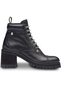 Miu Miu Leather Ankle Booties - Preto
