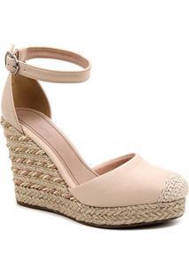 Sandália Anabela Shoestock Corda Feminina - Feminino-Bege