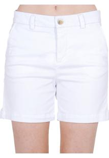 Bermuda Alfaiataria Sarja Cantão Feminino - Feminino-Branco