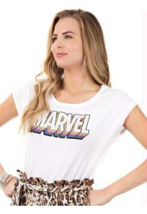 Blusa Estampa Localizada Branco Marvel