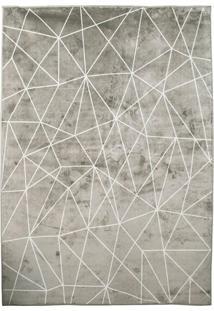 Tapete Geometric Retangular Poliéster (40X60) Cinza E Off White