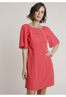Vestido Feminino Curto Com Vazado Manga Curta Coral