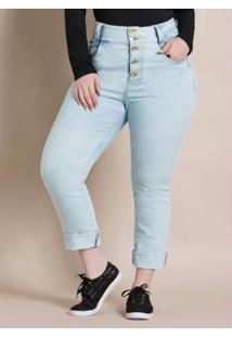 Calça Com Barra Desfiada Jeans Quintess