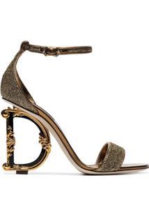 Dolce & Gabbana Sandália Metalizada 105 Com Logo - Dourado