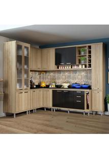 Cozinha Completa 16 Portas Com Tampo E Vidro 5805 Preto/Argila - Multimóveis