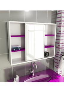 Espelheira Para Banheiro Modelo 22 80 Cm Branca E Violeta Tomdo