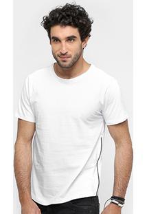 Camiseta Sergio K Cruz Zíper Lateral Masculina - Masculino-Branco
