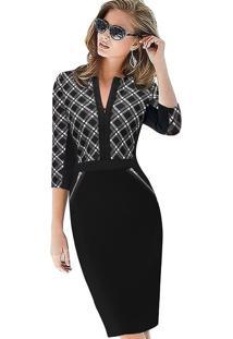 Vestido Office Xadrez/Cores