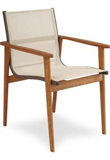 Cadeira Sika Tela Sintética Estrutura Madeira Cumaru E Alumínio Eco Friendly Design Scaburi
