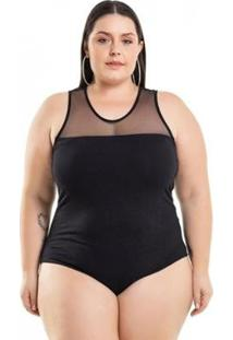 Body Plus Size Com Tule Miss Masy Plus - Feminino-Preto