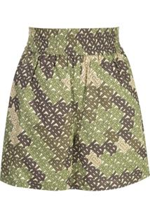 Burberry Monogram Print Poplin Shorts - Verde