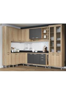 Cozinha Completa Multimóveis Com 11 Peças Sicília 5805 Argila/Grafite