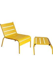 Poltrona Com Apoio Para Os Pés Tropical Amarela