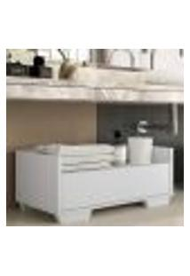 Gabinete Balcão Banheiro 80 Cm C/ Pés Quadrados Multimóveis Branco