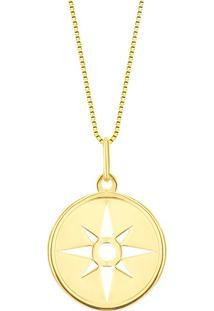 Pingente Medalha Estrela Ouro Amarelo