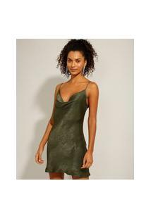 Vestido Slip Dress Acetinado Curto Alça Fina Verde