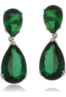 Brinco Le Diamond Gota Zirconia Verde