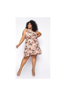 Vestido Almaria Plus Size Kayla Tavira Estampado Bege